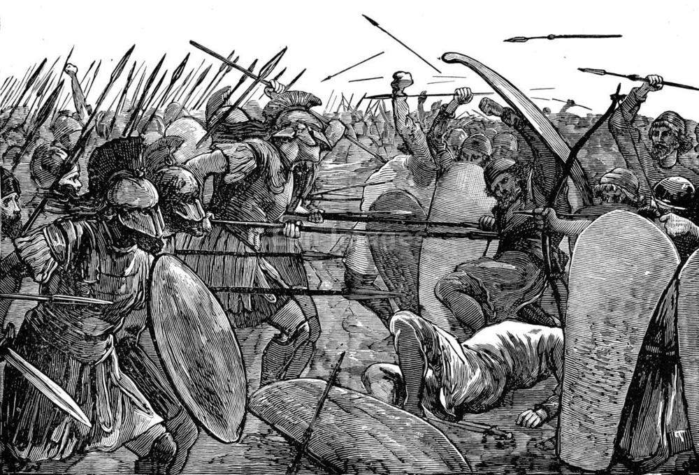 "19th-century illustration, ""Spartans at Plataea."" Greeks under Spartan leader Pausanias defeat the Persians at the Battle of Plataea in 479 B.C. during the Persian Wars."